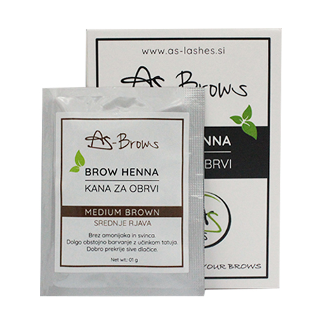 "As-Brows ""MEDIUM BROWN"" Brow Henna set (1 sachets), 1g"