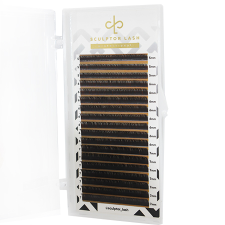 "Ресницы DARK BROWN MIX (5-7) ""GOLD""  Sculptor Lash"