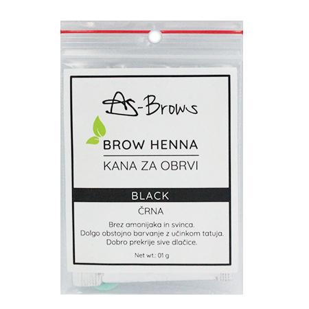 """As-Brows  """"BLACK"""" Brow Henna set (1 sachets), 1g"""