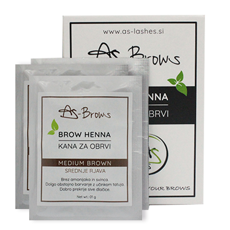 "As-Brows ""MEDIUM BROWN"" Brow Henna set (3 sachets), 3g"