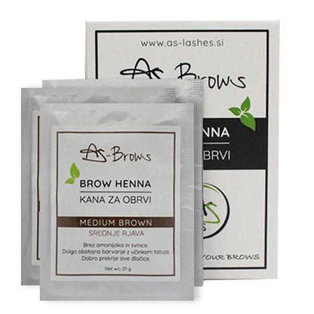 "As-Brows ""MEDIUM BROWN"" Brow Henna set (3 sachets), 3g"