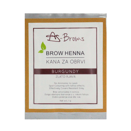 "As-Brows  ""BURGUNDY"" Brow Henna set (1 sachets), 1g"