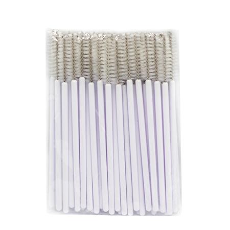 Щеточки нейлоновые для расчесывания ресниц белые 50 шт. в упаковке