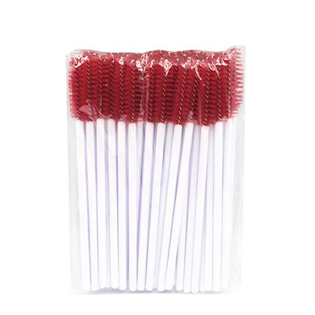 Щеточки нейлоновые для расчесывания ресниц красные 50 шт. в упаковке