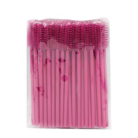 Щеточки нейлоновые для расчесывания ресниц розовые 50 шт. в упаковке