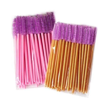Щеточки нейлоновые для расчесывания ресниц фиолетовые 50 шт. в упаковке