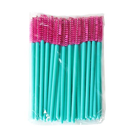 Щеточки нейлоновые для расчесывания ресниц малиновые 50 шт. в упаковке